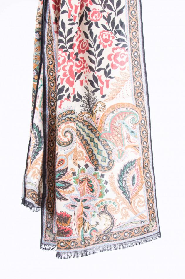 Etro Schal aus Kaschmir-Seide-Mix in Beige gemustert