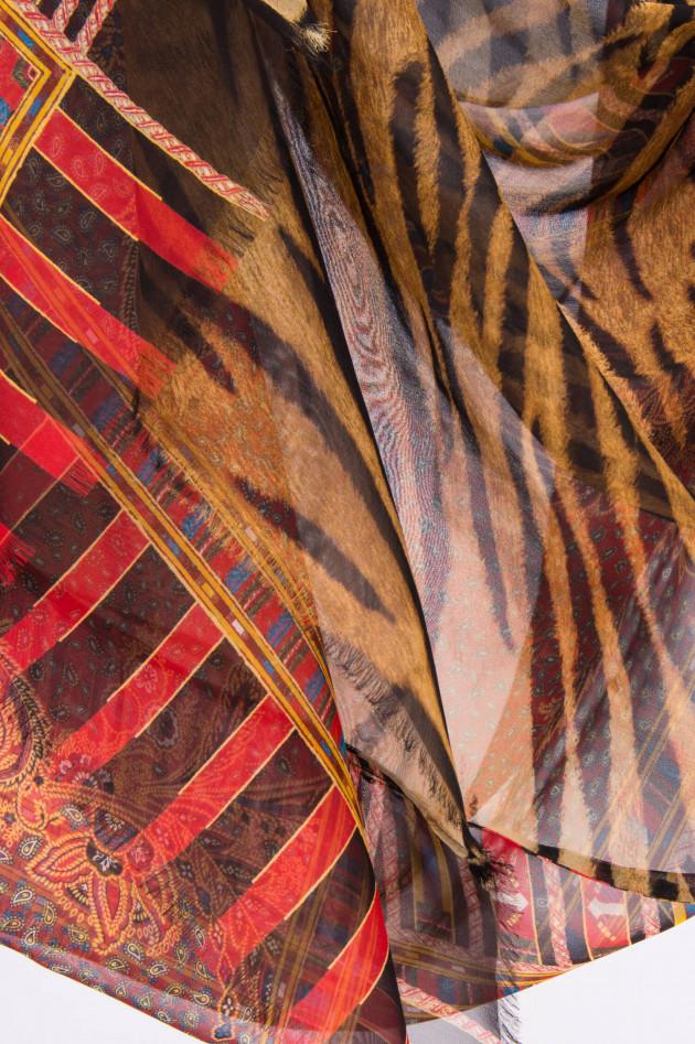 Etro Tuch aus reiner Seide in Rot/Beige