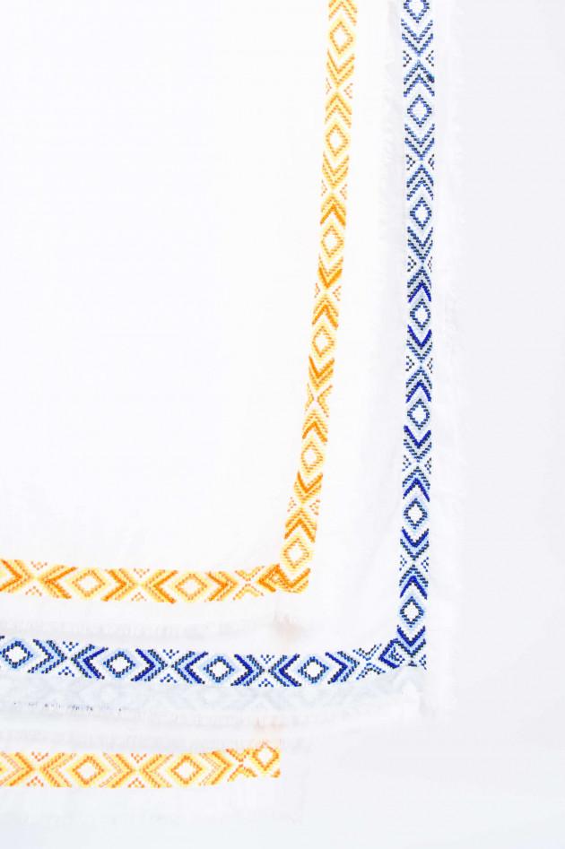 Faliero Sarti Tuch mit Perlenbesatz in Weiß/Orange gemustert
