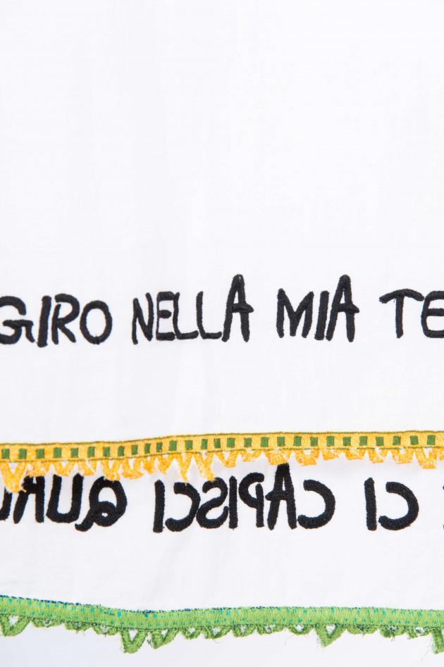 Faliero Sarti Tuch mit dekorativer Bordüre in Weiß gemustert