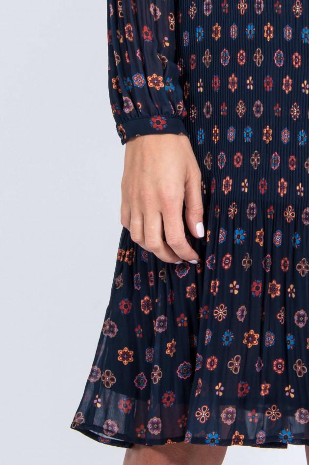 Frogbox Plissee-Kleid in Navy/Orange