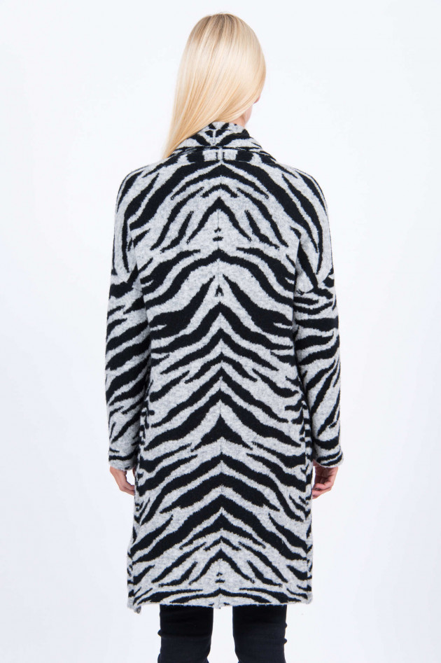 Frogbox Strickjacke im Zebra-Design in Schwarz/Grau