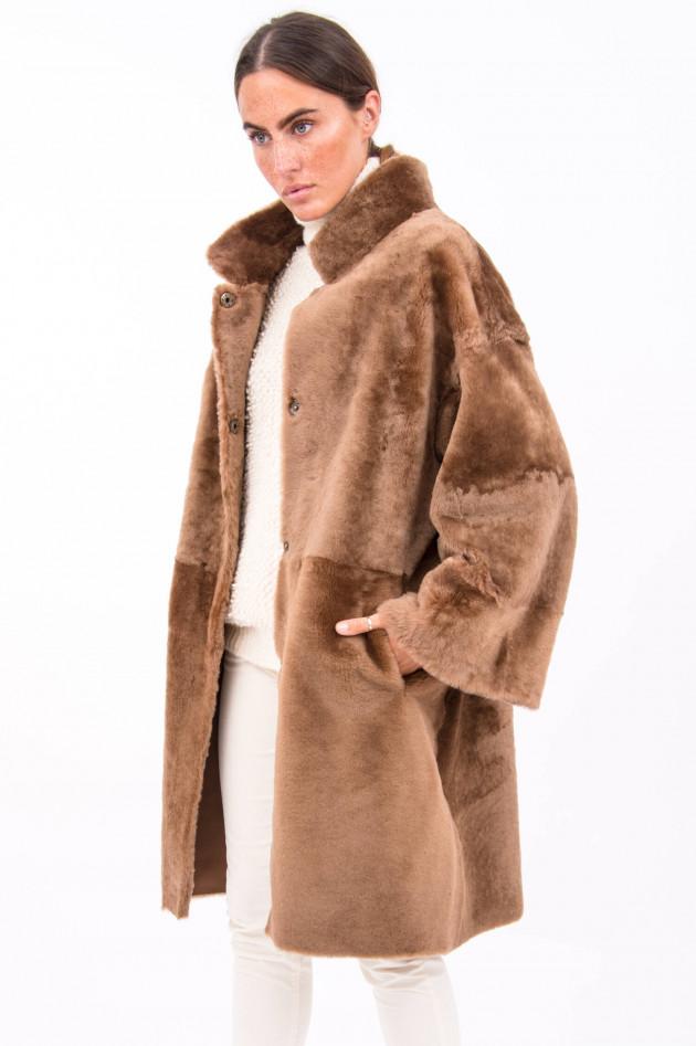 Furry Wendemantel PAULA mit Gürtel in Cognac