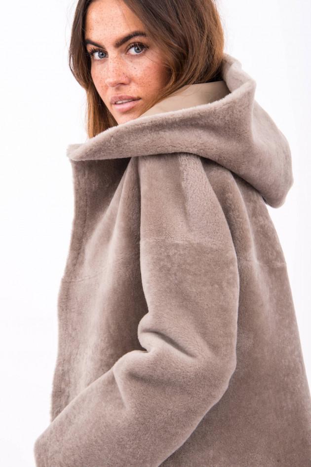 Furry Wende-Lammfelljacke ISABELLA in Taupe