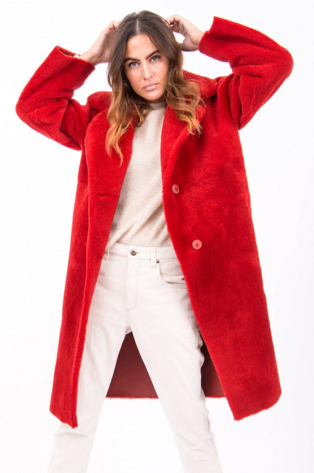 Furry Wende-Lammfellmantel ELINA in Rot