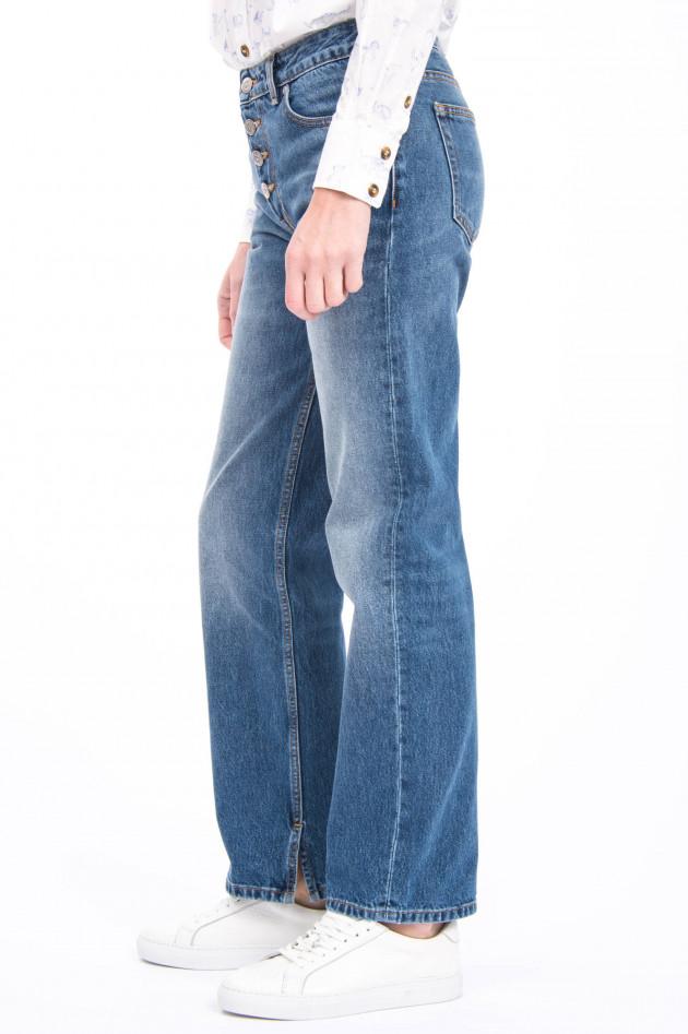 Ganni Jeans aus strukturiertem Denim in Mittelblau
