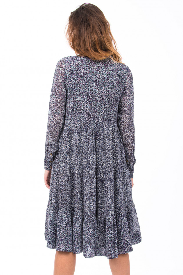 Ganni Kleid mit floralem Print in Navy/Weiß