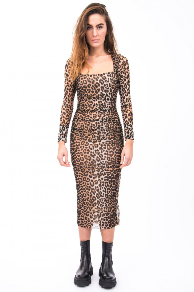 Ganni Mesh-Kleid im Leo-Design