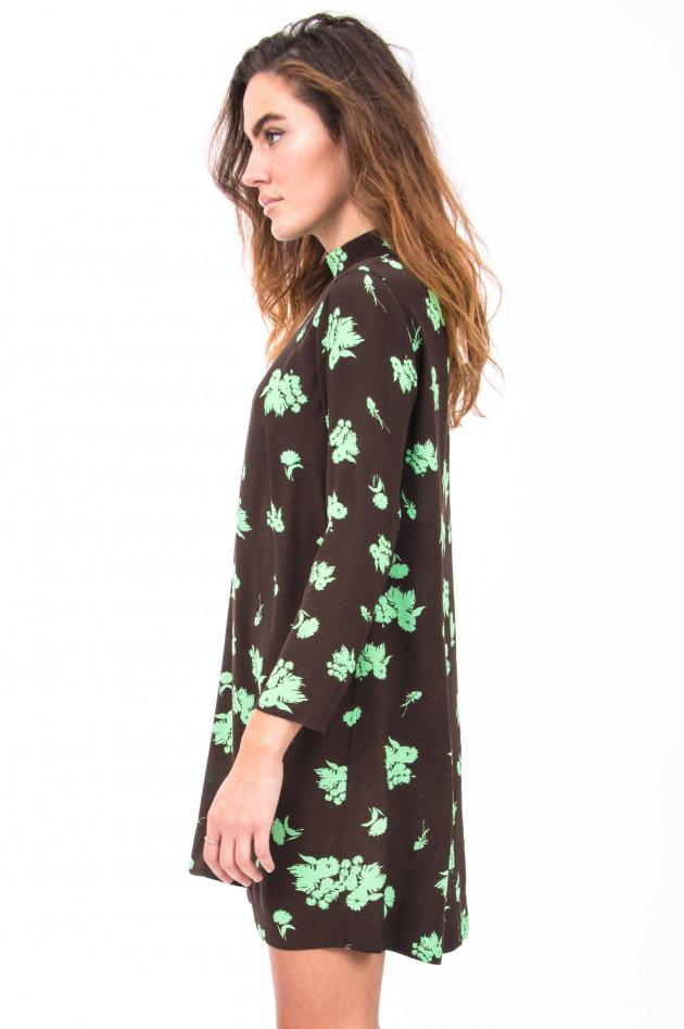 Ganni Kleid mit Floralem Print in Schwarz/Mint