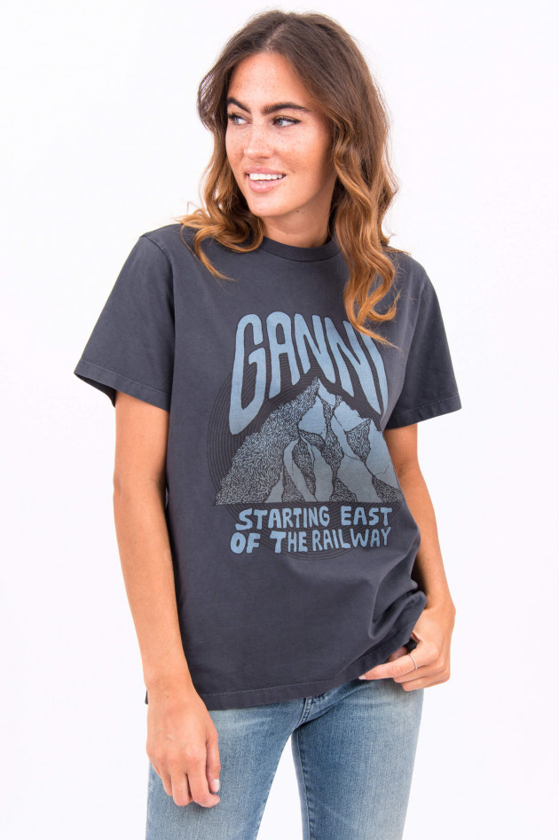 Ganni T-Shirt STARTING EAST OF THE RAILWAY in Anthra