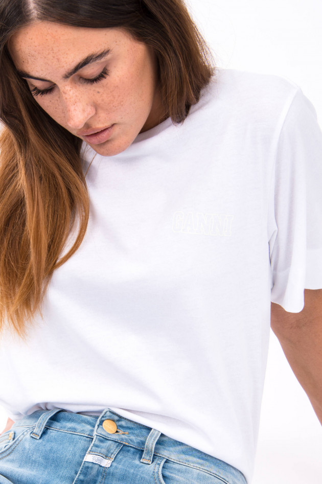 Ganni T-Shirt mit Label-Druck in Weiß