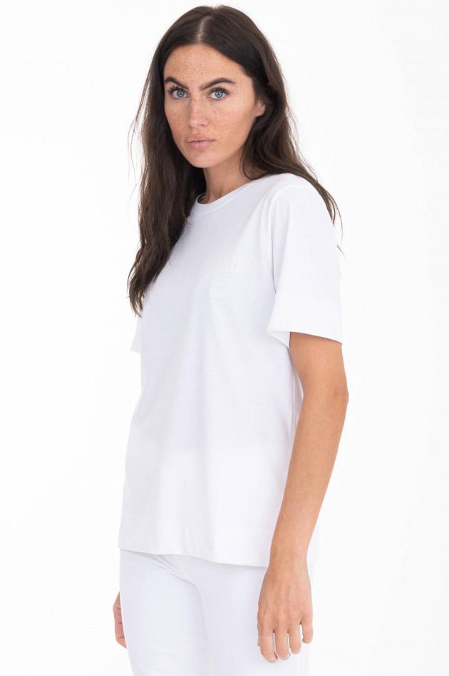 Ganni T-Shirt mit Label-Print in Weiß