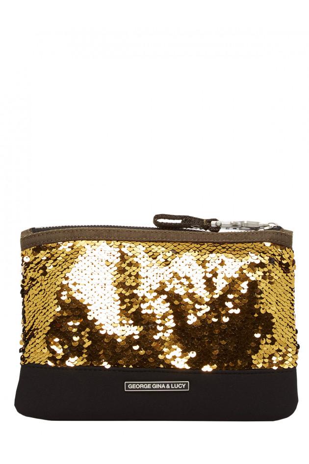 Kosmetiktasche mit Pailletten in Schwarz/Gold