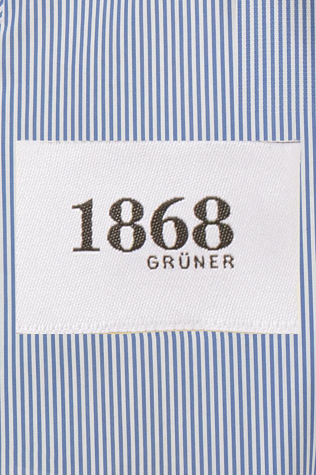 Grüner 1868 Jubiläums - Bluse mit Rüschen in Blau/Weiß gestreift