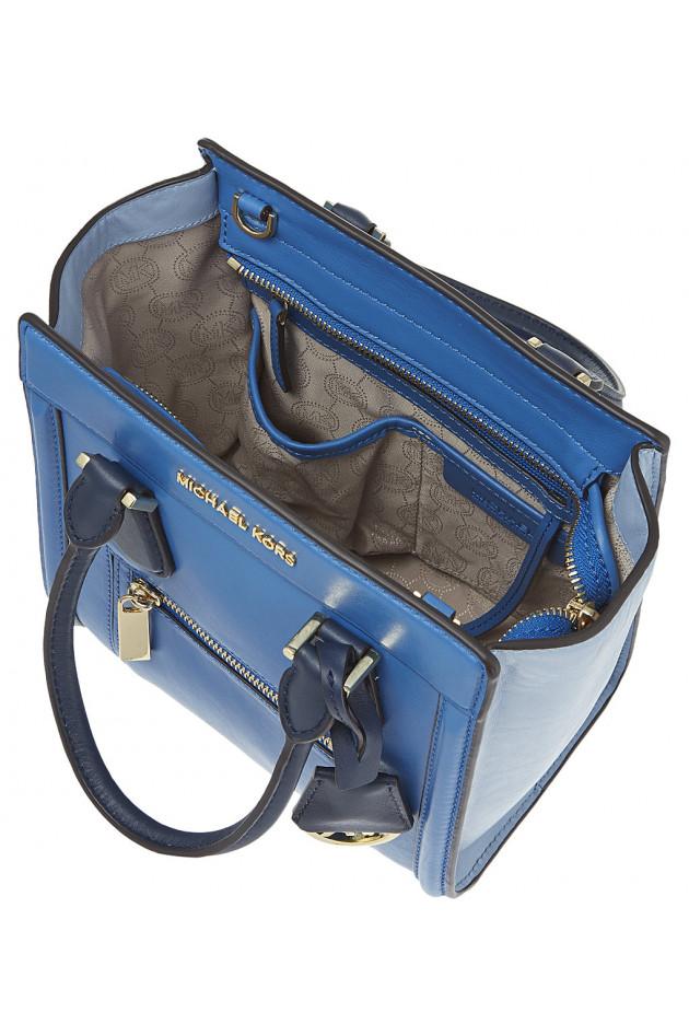 gr ner online shop michael kors handtasche colette in blau. Black Bedroom Furniture Sets. Home Design Ideas