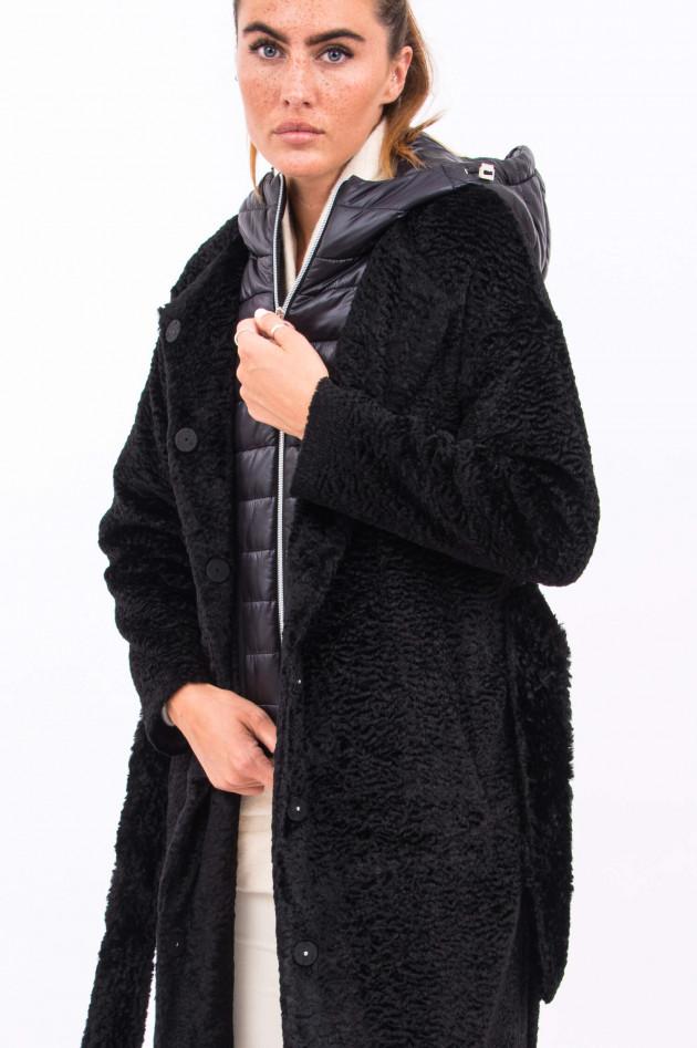 Herno Fake Fur Mantel mit Inlay in Schwarz