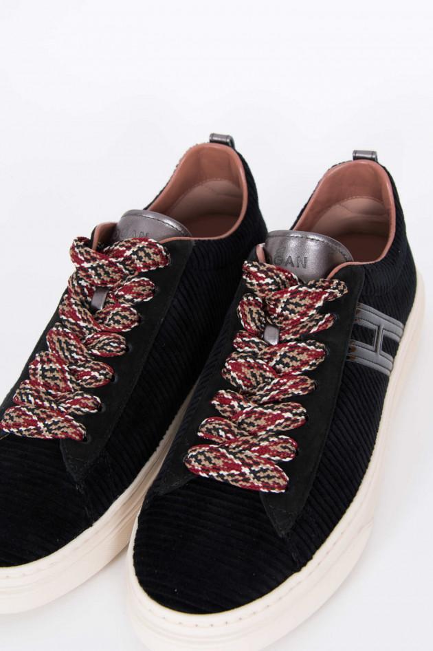 Hogan Sneaker mit Samtoptik in Schwarz