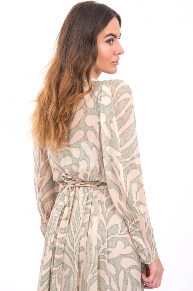 I Heart  Wickelkleid mit Blatt-Design in Grün/Beige