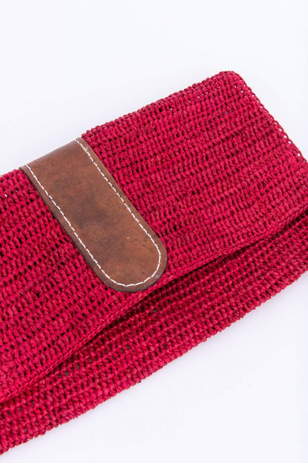 Ibeliv Clutch BELIZI mit Leder-Detail in Rot