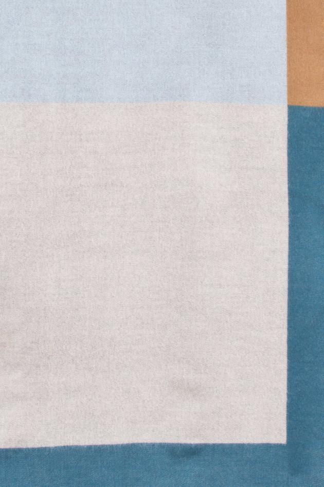 Johnstons of Elgin Wollschal in Blau/Beige