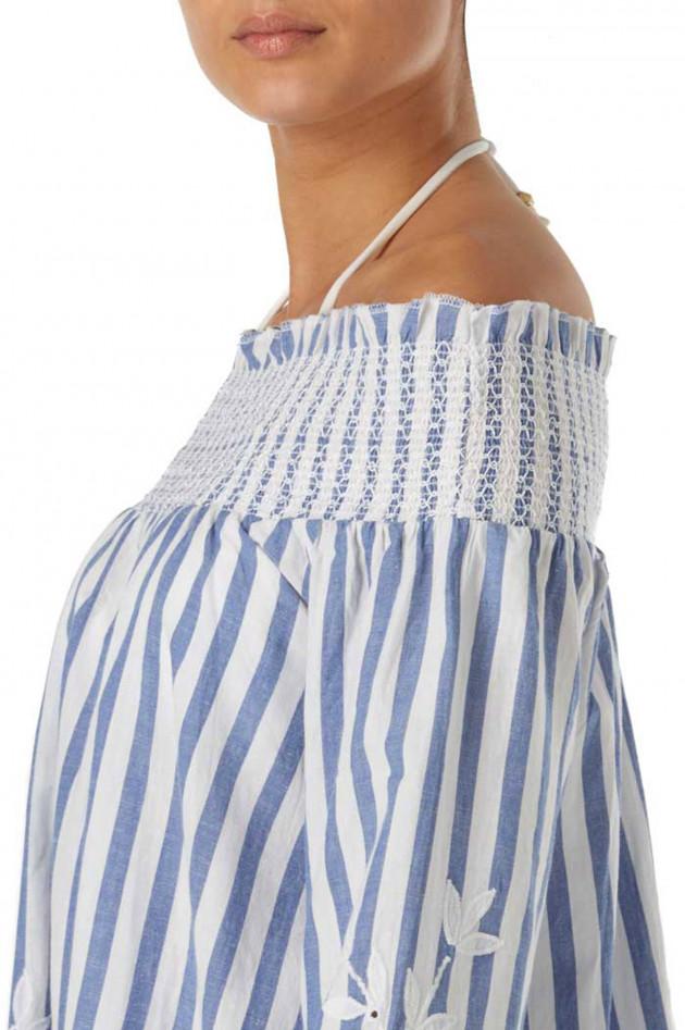 Grüner Online Shop: Juliett Dunn Carmen-Kleid in Blau/Weiß ...