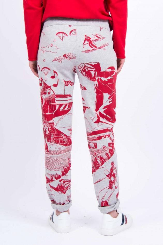 Juvia Sweatpants in Grau/Rot gemustert