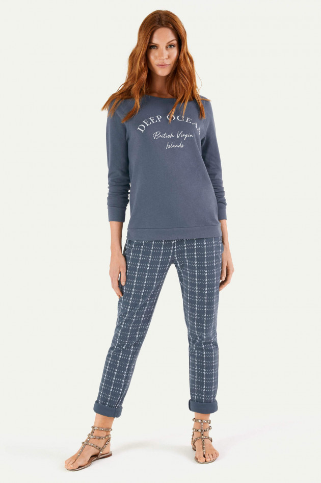 Juvia Loose Fit Sweatpants in Blau/Weiß gemustert