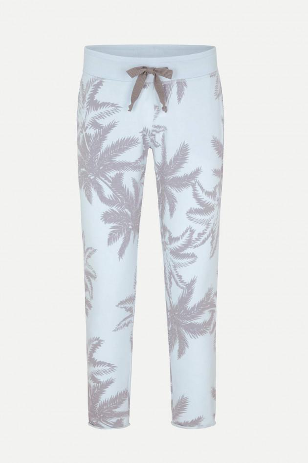 Juvia Slim-Fit Sweatpants mit Palmen-Print in Hellblau