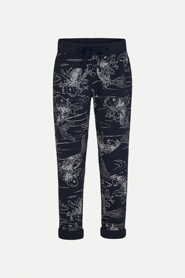 Juvia Relaxed Fit Sweatpants mit Allover-Print in Navy