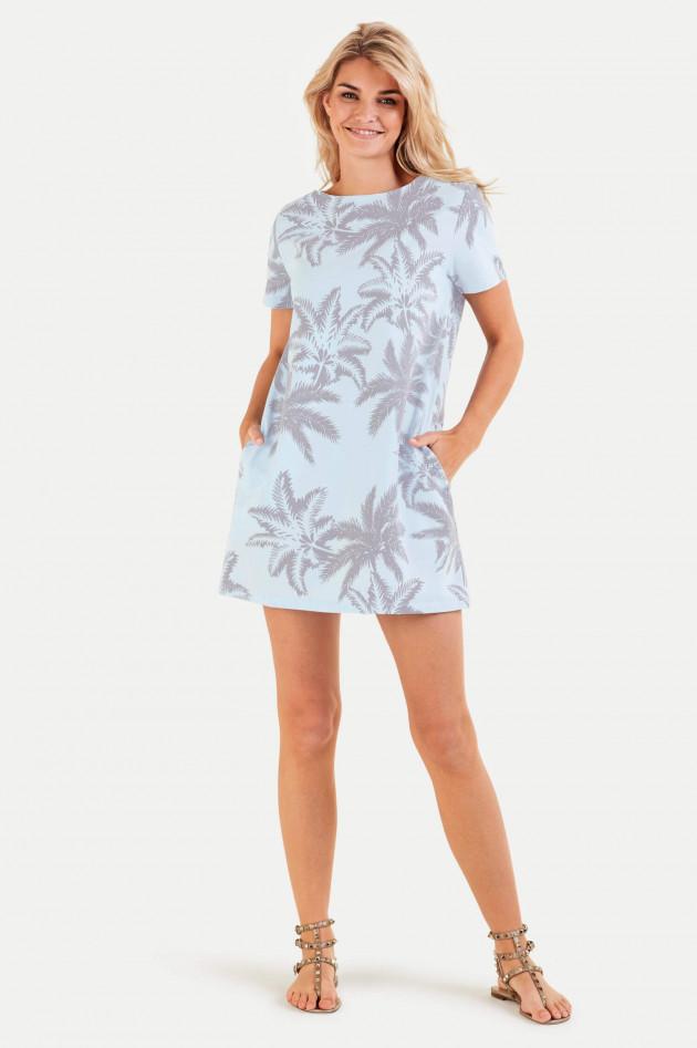 Juvia Jerseykleid mit Palmen-Print in Hellblau
