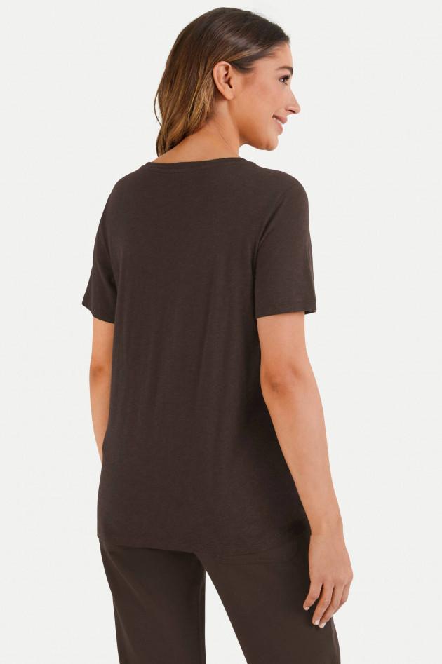 Juvia T-Shirt aus Baumwoll-Viskose-Mix in Dunkelbraun