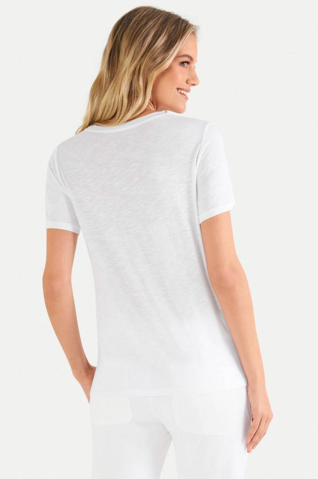 Juvia T-Shirt aus Baumwoll-Viskose-Mix in Weiß