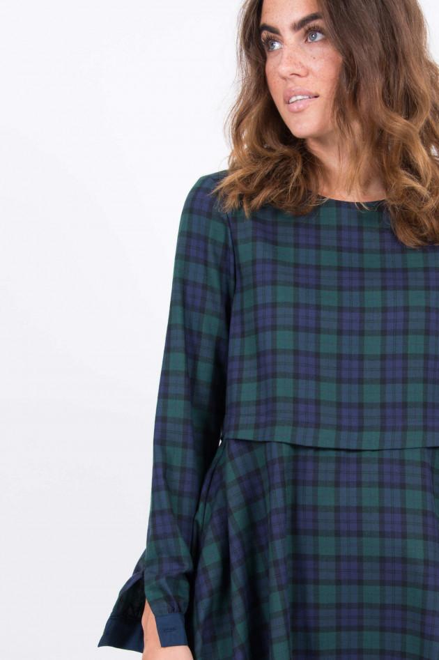 La Camicia Kleid mit Spitzensaum in Navy/Grün gemustert