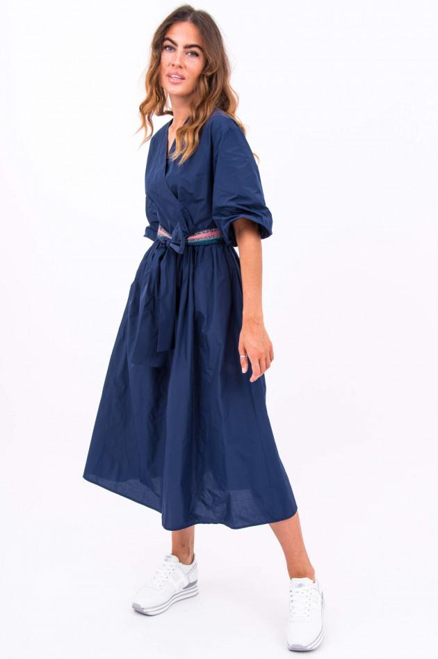 La Camicia Midi-Kleid mit Bindegürtel in Navy