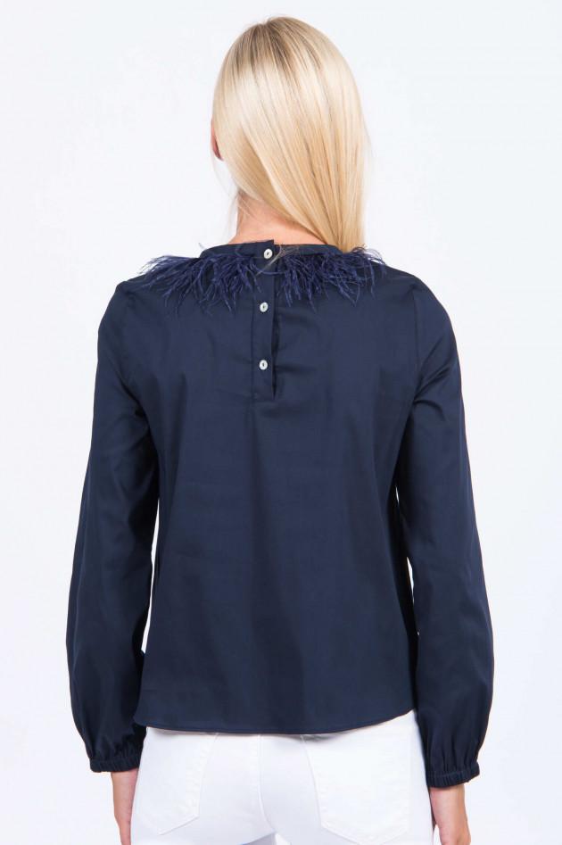 La Camicia Bluse mit Straußenfedern in Navy