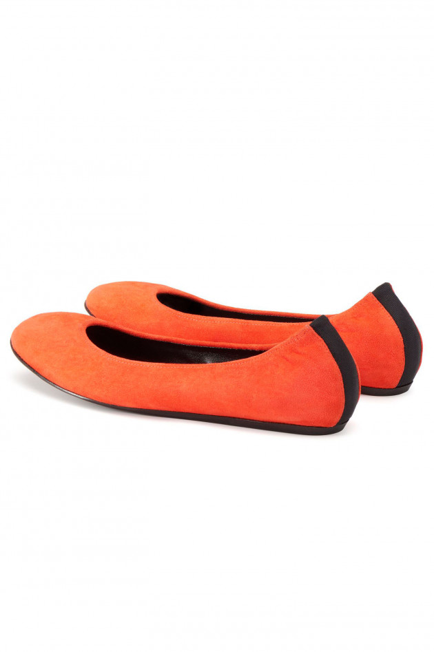 Lanvin Ballerinas aus Veloursleder in Orange