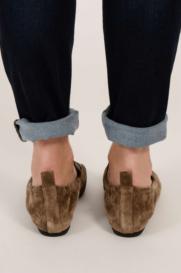 Lanvin Loafers aus Veloursleder in Taupe