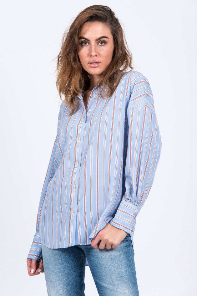 Le Sarte Pettegole Oversized Bluse im Streifen-Design in Hellblau