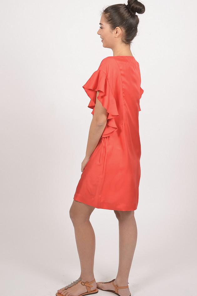Le Sarte Pettegole Seidenkleid mit Volants in Rot
