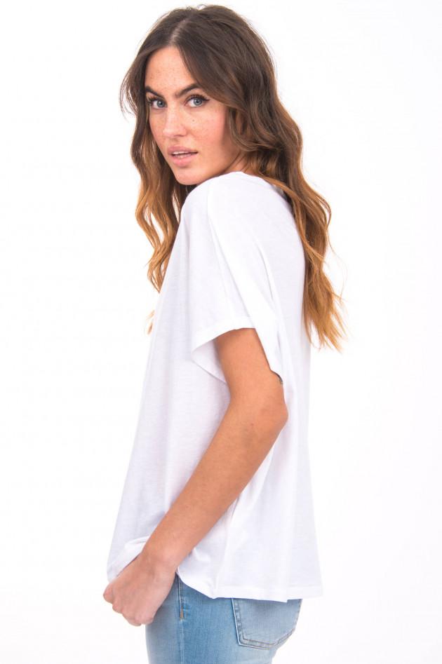 Love Joy Victory Kurzarm Shirt mit U-Boot-Ausschnitt in Weiß