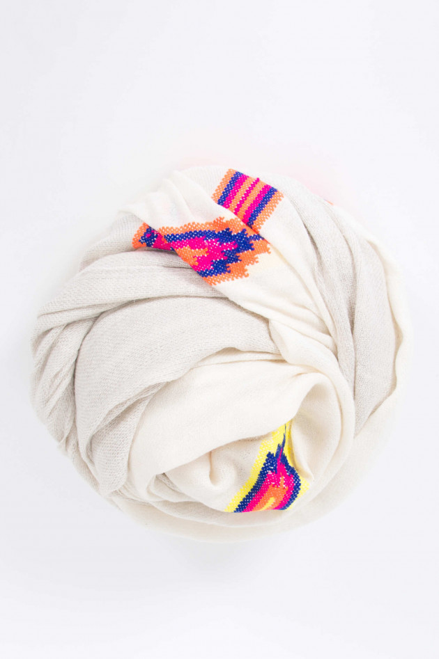 Lua Accessories Pashmina-Schal in Weiß/Natur gemustert