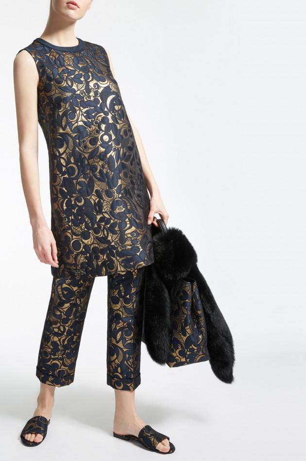 Max Mara Kleid mit Metalliceffekt in Navy/Gold