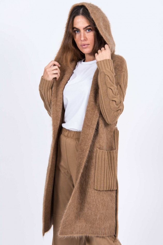 Max Mara Main Strickjacke mit Kapuze in Camel