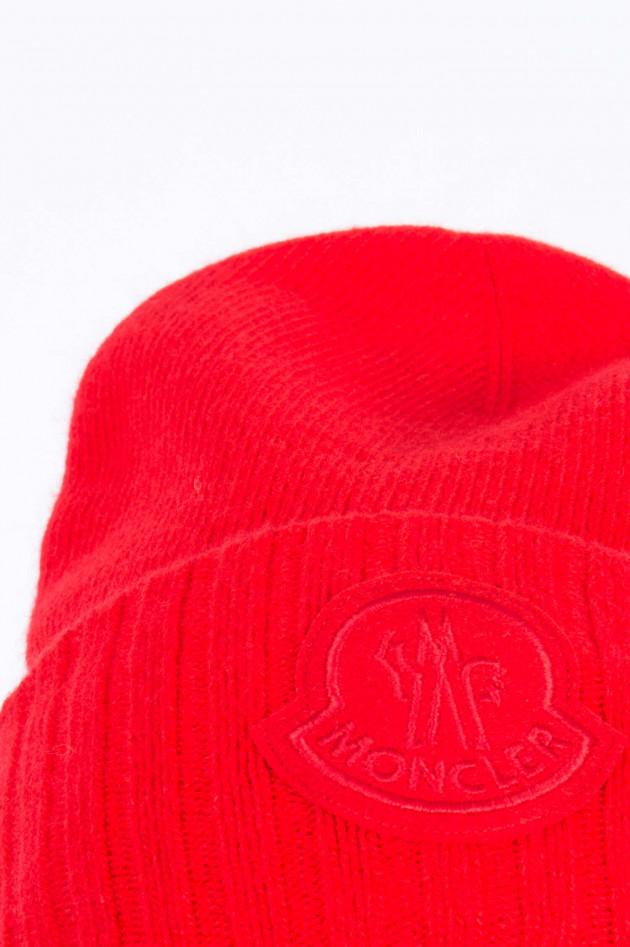 Moncler Beanie mit Logo in Rot