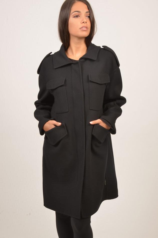gr ner online shop moncler daunengilet mit wollmantel phillirea in schwarz. Black Bedroom Furniture Sets. Home Design Ideas