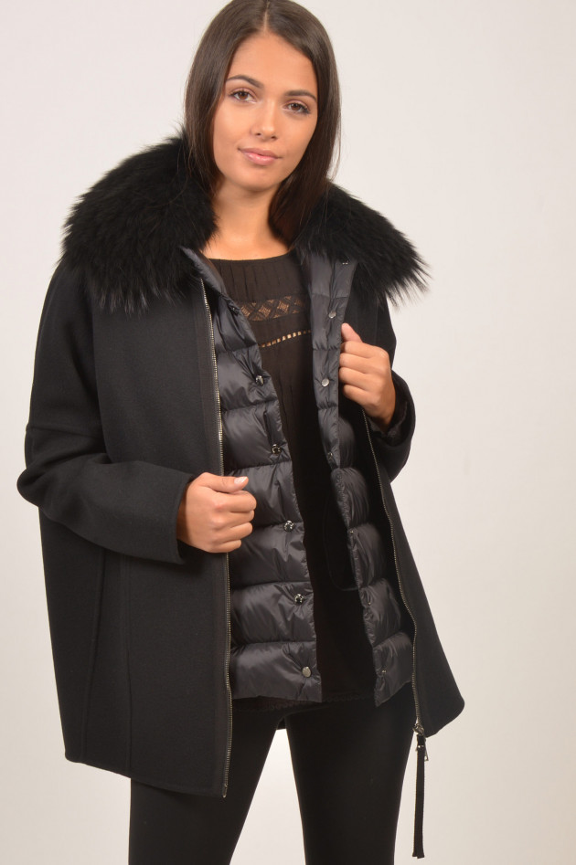 gr ner online shop moncler wollmantel mit daunengilet buxus in schwarz. Black Bedroom Furniture Sets. Home Design Ideas