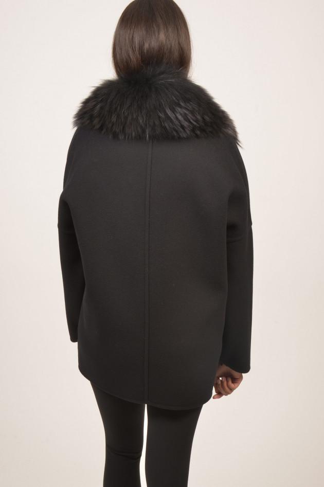 Moncler Wollmantel mit Daunengilet Buxus in Schwarz
