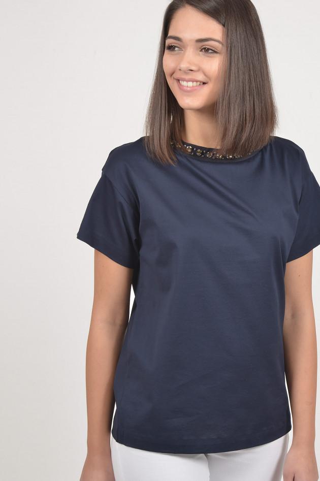 Moncler T-Shirt mit Schmucksteinbesatz in Navy