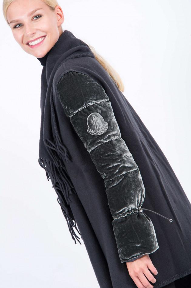 Moncler Wollcape mit Daunenarm in Graphit
