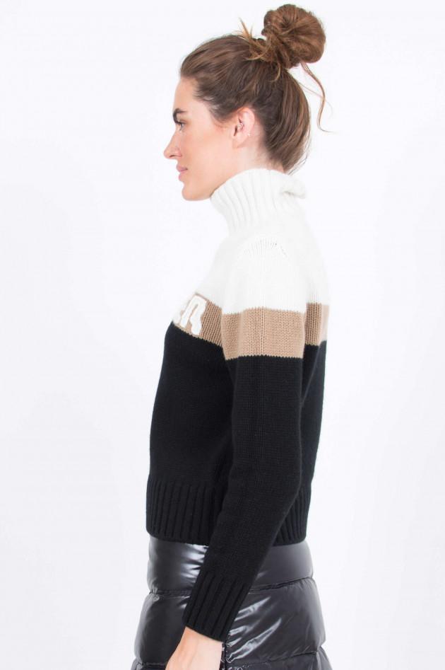 Moncler Rollkragen Pullover in Weiß/Camel/Schwarz